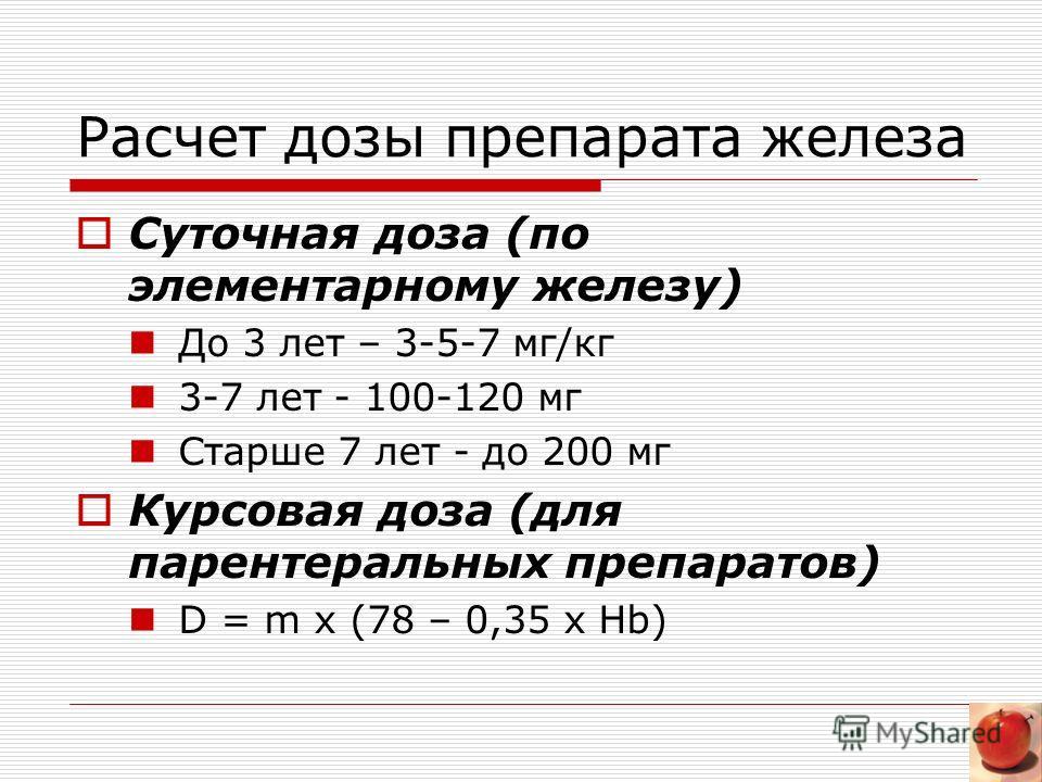 Расчет дозы препарата железа Суточная доза (по элементарному железу) До 3 лет – 3-5-7 мг/кг 3-7 лет - 100-120 мг Старше 7 лет - до 200 мг Курсовая доза (для парентеральных препаратов) D = m x (78 – 0,35 x Hb)