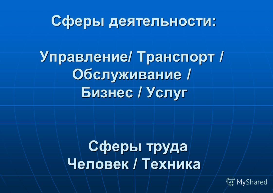 Сферы деятельности: Управление/ Транспорт / Обслуживание / Бизнес / Услуг Сферы труда Человек / Техника Сферы деятельности: Управление/ Транспорт / Обслуживание / Бизнес / Услуг Сферы труда Человек / Техника