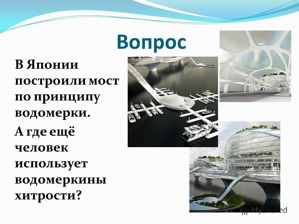 Вопрос В Японии построили мост по принципу водомерки. А где ещё человек использует водомеркины хитрости?