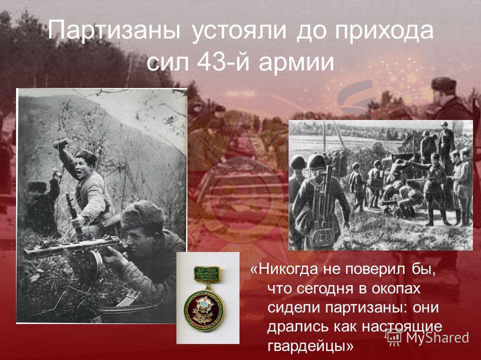 Партизаны устояли до прихода сил 43-й армии «Никогда не поверил бы, что сегодня в окопах сидели партизаны: они дрались как настоящие гвардейцы»