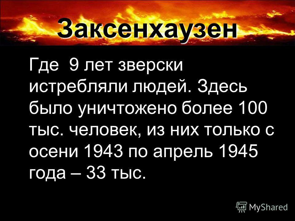 Заксенхаузен Где 9 лет зверски истребляли людей. Здесь было уничтожено более 100 тыс. человек, из них только с осени 1943 по апрель 1945 года – 33 тыс.
