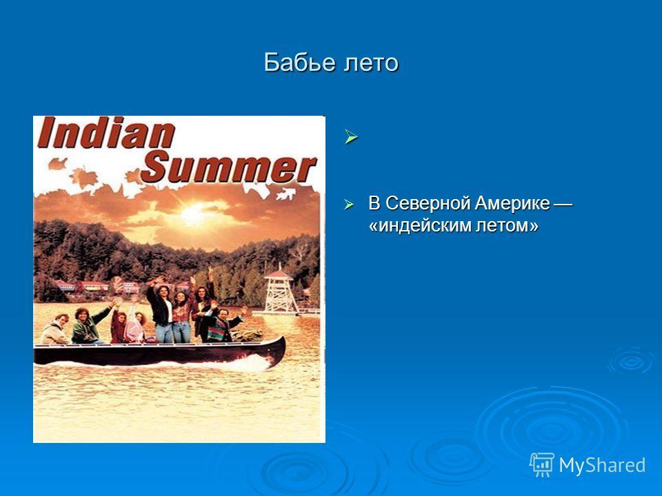 Бабье лето В Северной Америке «индейским летом» В Северной Америке «индейским летом»