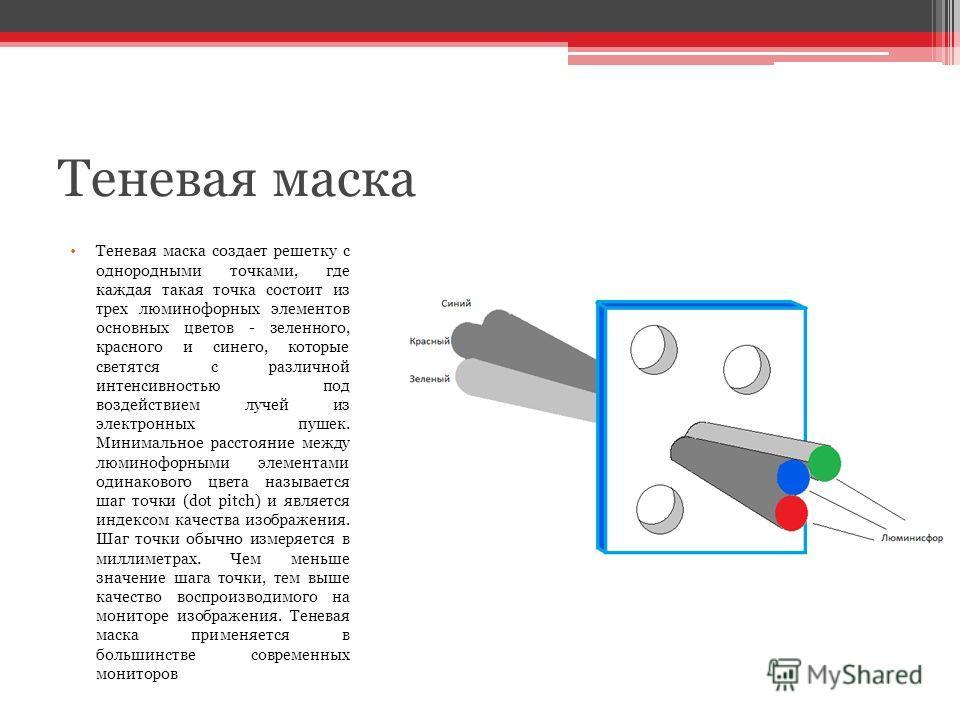 Теневая маска Теневая маска создает решетку с однородными точками, где каждая такая точка состоит из трех люминофорных элементов основных цветов - зеленного, красного и синего, которые светятся с различной интенсивностью под воздействием лучей из эле