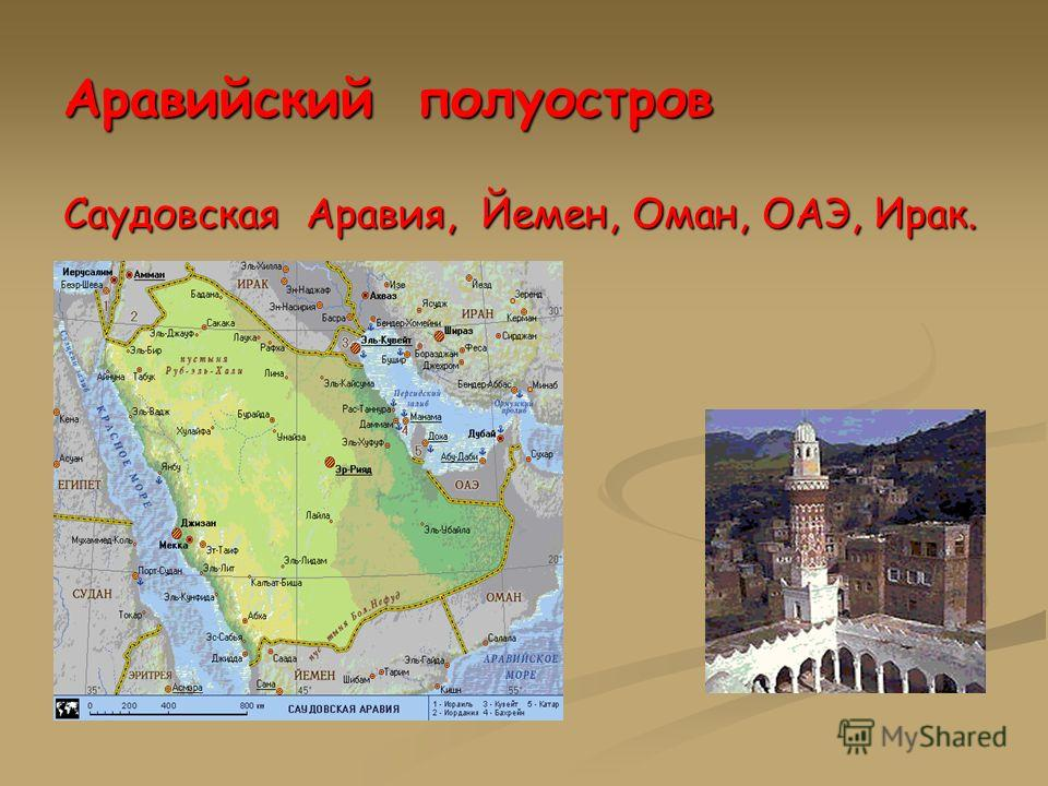 Аравийский полуостров Саудовская Аравия, Йемен, Оман, ОАЭ, Ирак.