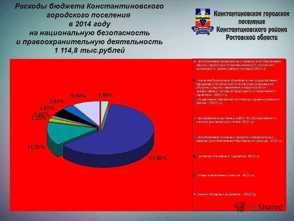 Расходы бюджета Константиновского городского поселения в 2014 году на национальную безопасность и правоохранительную деятельность 1 114,8 тыс.рублей