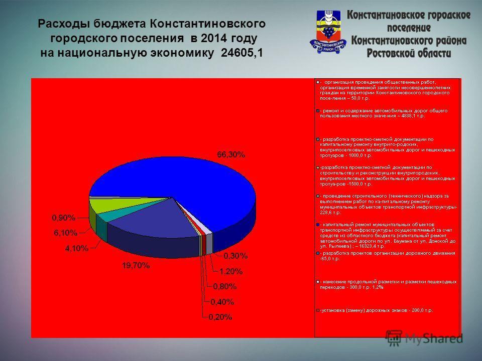 Расходы бюджета Константиновского городского поселения в 2014 году на национальную экономику 24605,1