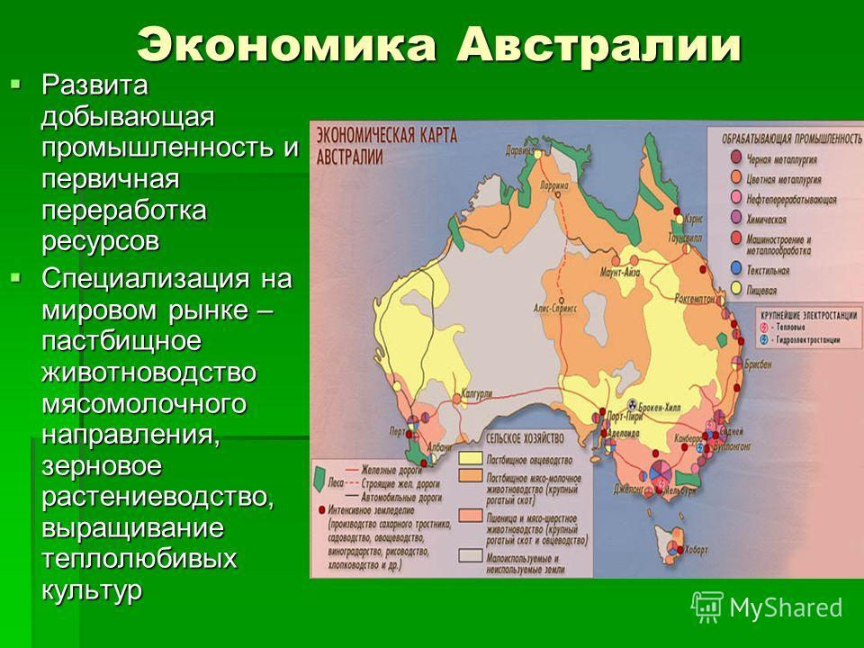 Экономика Австралии Развита добывающая промышленность и первичная переработка ресурсов Специализация на мировом рынке – пастбищное животноводство мясомолочного направления, зерновое растениеводство, выращивание теплолюбивых культур