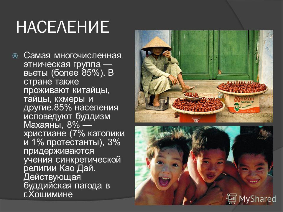 НАСЕЛЕНИЕ Самая многочисленная этническая группа вьеты (более 85%). В стране также проживают китайцы, тайцы, кхмеры и другие.85% населения исповедуют буддизм Махаяны, 8% христиане (7% католики и 1% протестанты), 3% придерживаются учения синкретическо