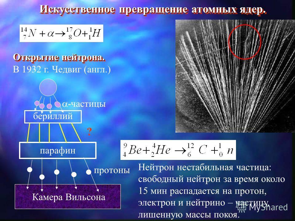 Искусственное превращение атомных ядер. Открытие нейтрона. Открытие нейтрона. В 1932 г. Чедвиг (англ.) -частицы бериллий парафин ? Камера Вильсона протоны Нейтрон нестабильная частица: свободный нейтрон за время около 15 мин распадается на протон, эл