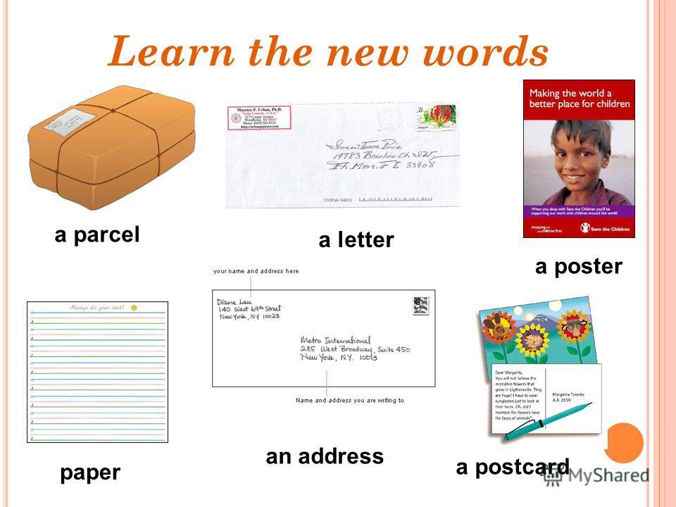 a parcel a poster paper a postcard a letter an address