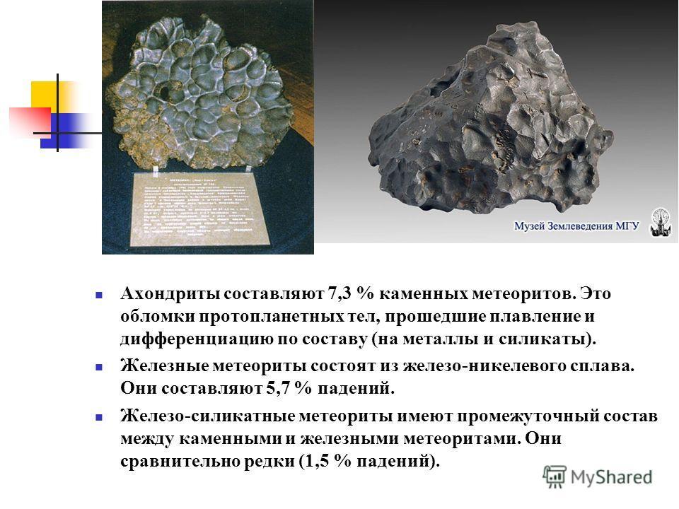 Ахондриты составляют 7,3 % каменных метеоритов. Это обломки протопланетных тел, прошедшие плавление и дифференциацию по составу (на металлы и силикаты). Железные метеориты состоят из железо-никелевого сплава. Они составляют 5,7 % падений. Железо-сили