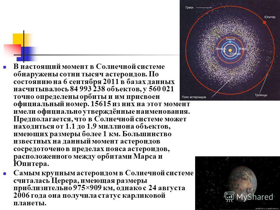 В настоящий момент в Солнечной системе обнаружены сотни тысяч астероидов. По состоянию на 6 сентября 2011 в базах данных насчитывалось 84 993 238 объектов, у 560 021 точно определены орбиты и им присвоен официальный номер. 15615 из них на этот момент