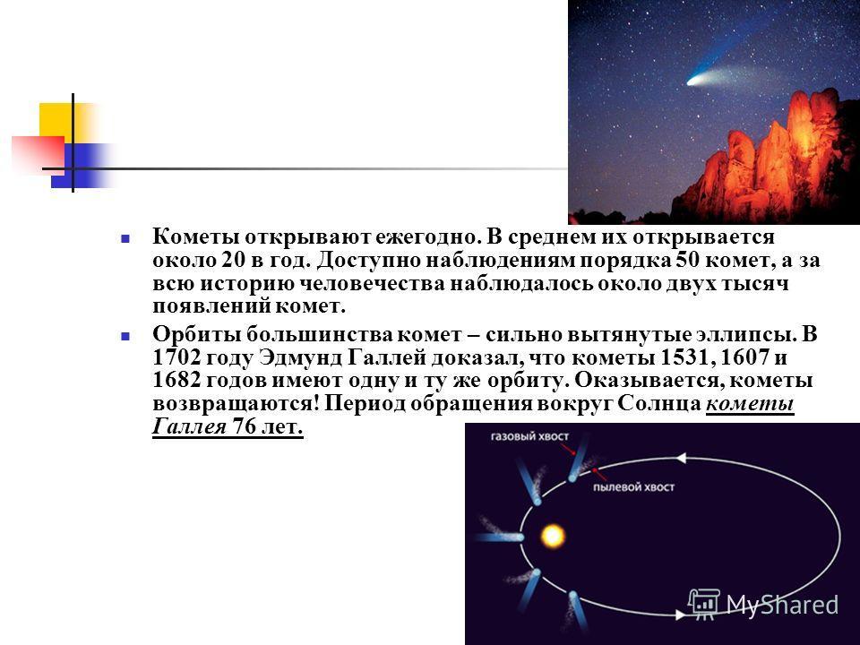 Кометы открывают ежегодно. В среднем их открывается около 20 в год. Доступно наблюдениям порядка 50 комет, а за всю историю человечества наблюдалось около двух тысяч появлений комет. Орбиты большинства комет – сильно вытянутые эллипсы. В 1702 году Эд