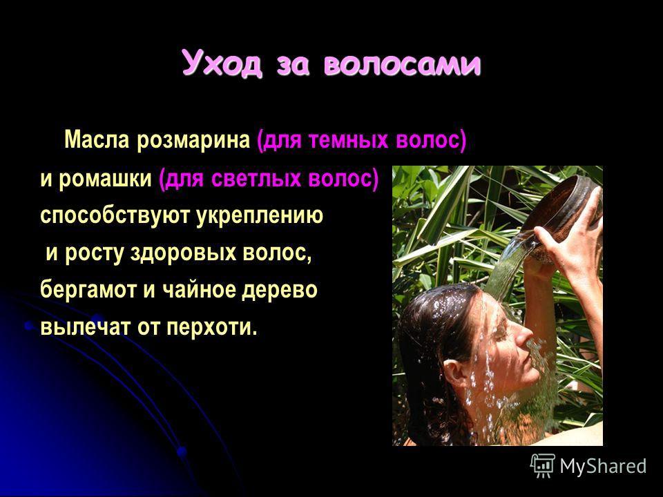 Уход за волосами Масла розмарина (для темных волос) и ромашки (для светлых волос) способствуют укреплению и росту здоровых волос, бергамот и чайное дерево вылечат от перхоти.