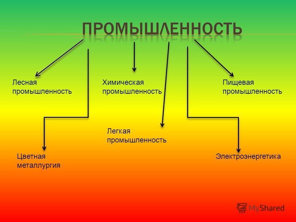 ЭлектроэнергетикаЦветная металлургия Лесная промышленность Химическая промышленность Пищевая промышленность Легкая промышленность