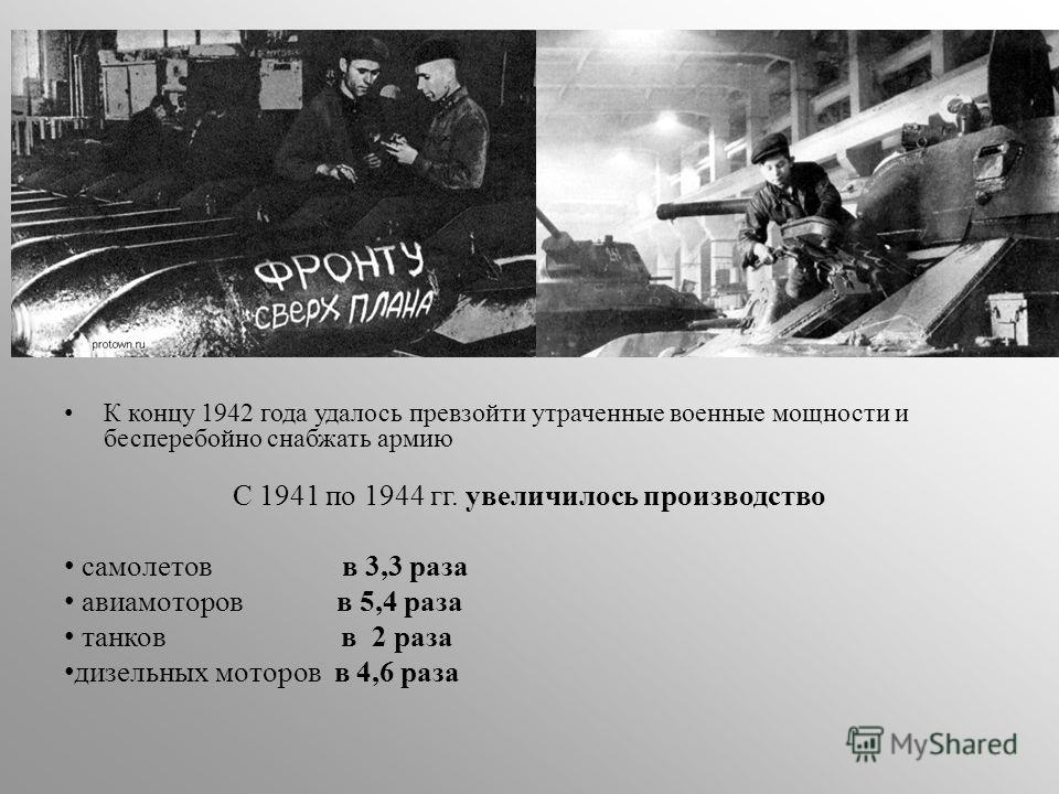 К концу 1942 года удалось превзойти утраченные военные мощности и бесперебойно снабжать армию С 1941 по 1944 гг. увеличилось производство самолетов в 3,3 раза авиамоторов в 5,4 раза танков в 2 раза дизельных моторов в 4,6 раза