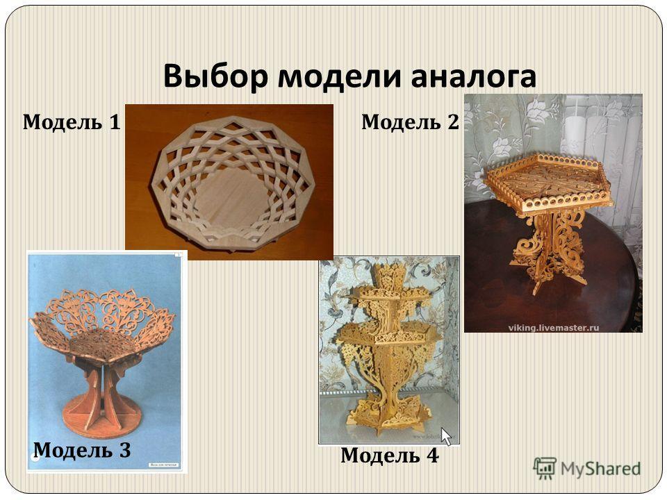 Выбор модели аналога Модель 1Модель 2 Модель 3 Модель 4