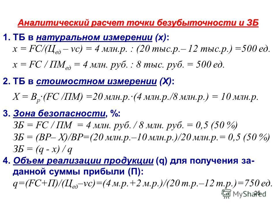25 Аналитический расчет точки безубыточности и ЗБ 1. ТБ в натуральном измерении (х): х = FC/(Ц ед – vc) = 4 млн.р. : (20 тыс.р.– 12 тыс.р.) =500 ед. х = FC / ПМ ед = 4 млн. руб. : 8 тыс. руб. = 500 ед. 2. ТБ в стоимостном измерении (Х): Х = В р ·(FC