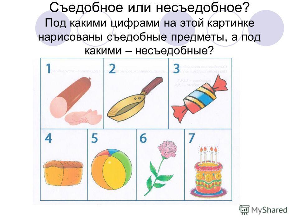 Съедобное или несъедобное? Под какими цифрами на этой картинке нарисованы съедобные предметы, а под какими – несъедобные?