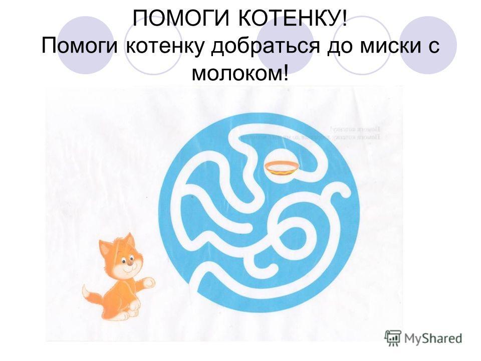 ПОМОГИ КОТЕНКУ! Помоги котенку добраться до миски с молоком!