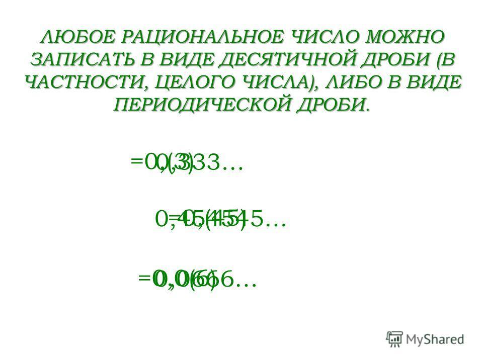 0,333… 0,454545… 0,0666… =0,(3) =0,(45) =0,0(6) ЛЮБОЕ РАЦИОНАЛЬНОЕ ЧИСЛО МОЖНО ЗАПИСАТЬ В ВИДЕ ДЕСЯТИЧНОЙ ДРОБИ (В ЧАСТНОСТИ, ЦЕЛОГО ЧИСЛА), ЛИБО В ВИДЕ ПЕРИОДИЧЕСКОЙ ДРОБИ.