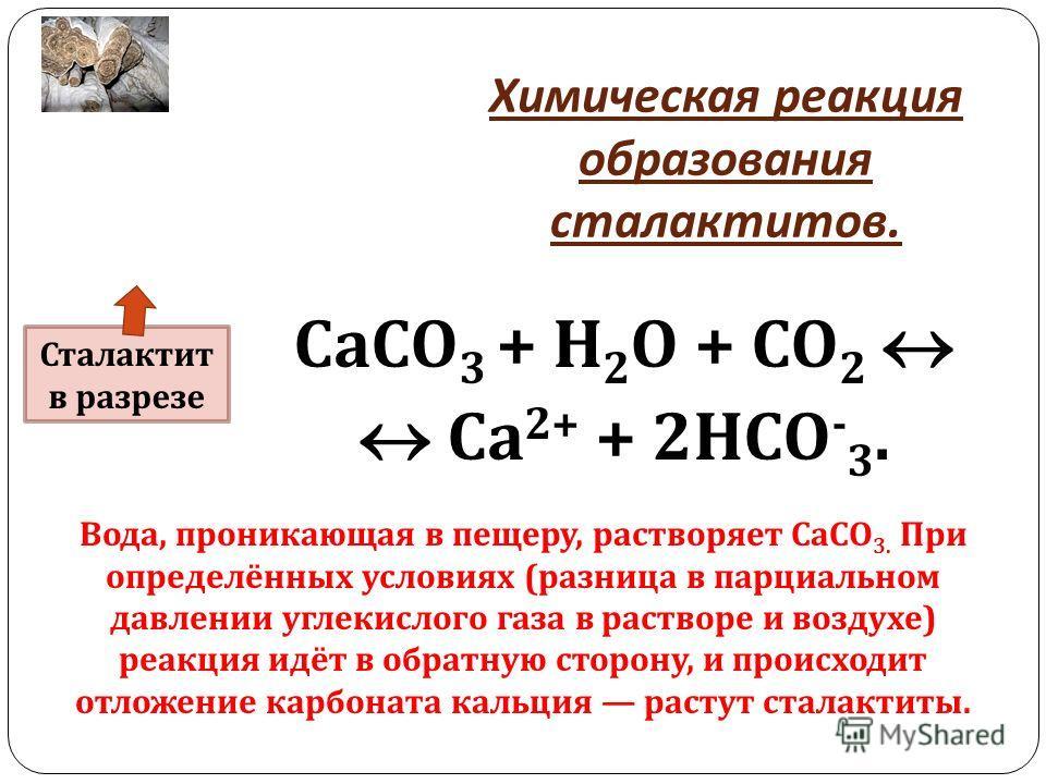 Химическая реакция образования сталактитов. СаСО 3 + Н 2 О + СО 2 Са 2+ + 2 НСО - 3. Вода, проникающая в пещеру, растворяет СаСО 3. При определённых условиях (разница в парциальном давлении углекислого газа в растворе и воздухе) реакция идёт в обратн