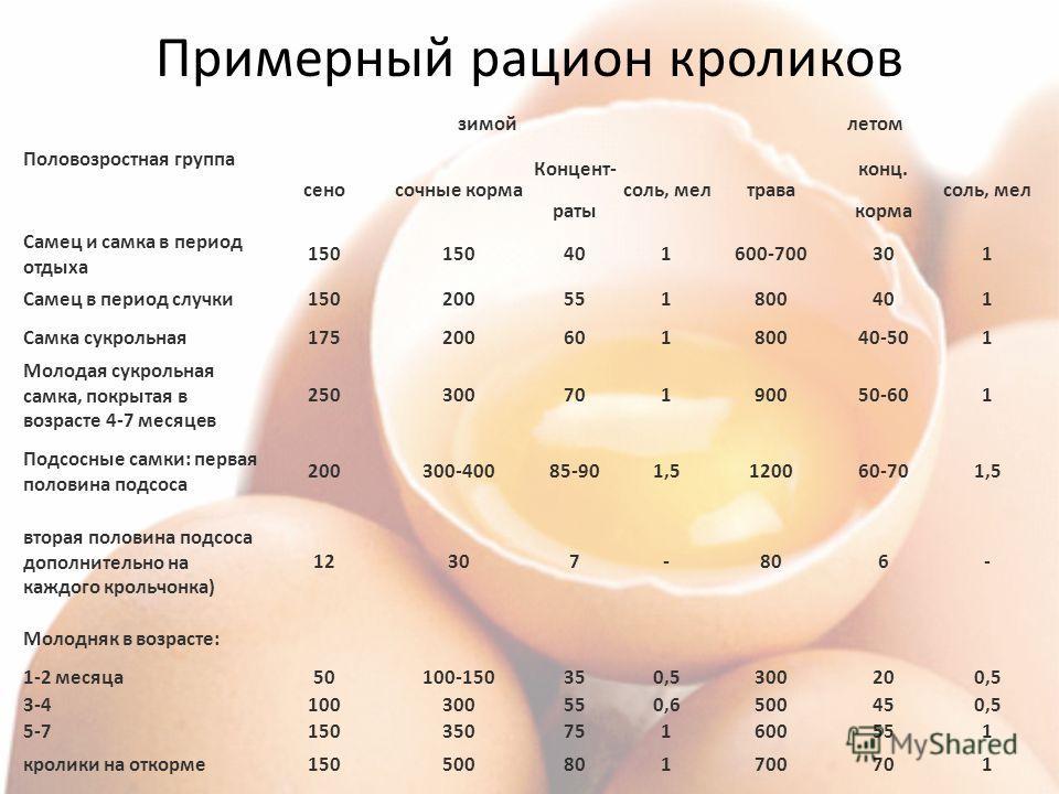 Примерный рацион кроликов Половозростная группа зимойлетом сеносочные корма Концент- раты соль, мелтрава конц. корма соль, мел Самец и самка в период отдыха 150 401600-700301 Самец в период случки150200551800401 Самка сукрольная17520060180040-501 Мол