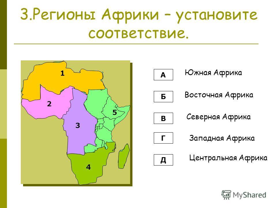 3.Регионы Африки – установите соответствие. А Б В Г Д Южная Африка Восточная Африка Северная Африка Западная Африка Центральная Африка 1 2 3 4 5