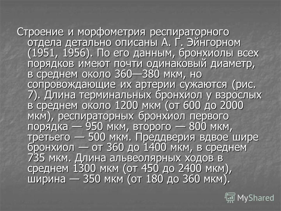 Строение и морфометрия респираторного отдела детально описаны А. Г. Эйнгорном (1951, 1956). По его данным, бронхиолы всех порядков имеют почти одинаковый диаметр, в среднем около 360380 мкм, но сопровождающие их артерии сужаются (рис. 7). Длина терми
