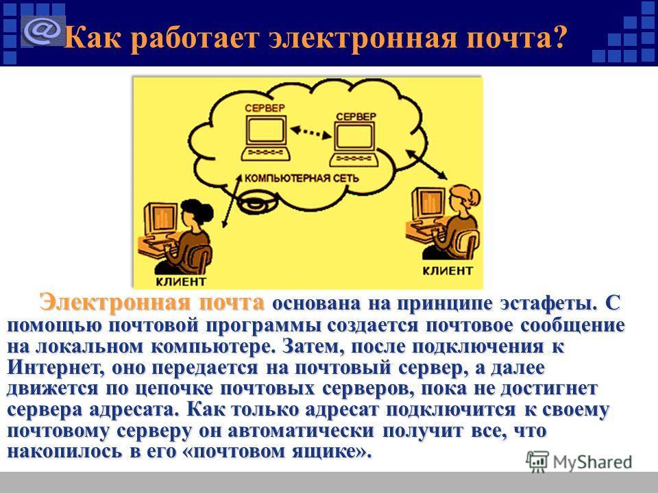 Как работает электронная почта? Электронная почта основана на принципе эстафеты. С помощью почтовой программы создается почтовое сообщение на локальном компьютере. Затем, после подключения к Интернет, оно передается на почтовый сервер, а далее движет