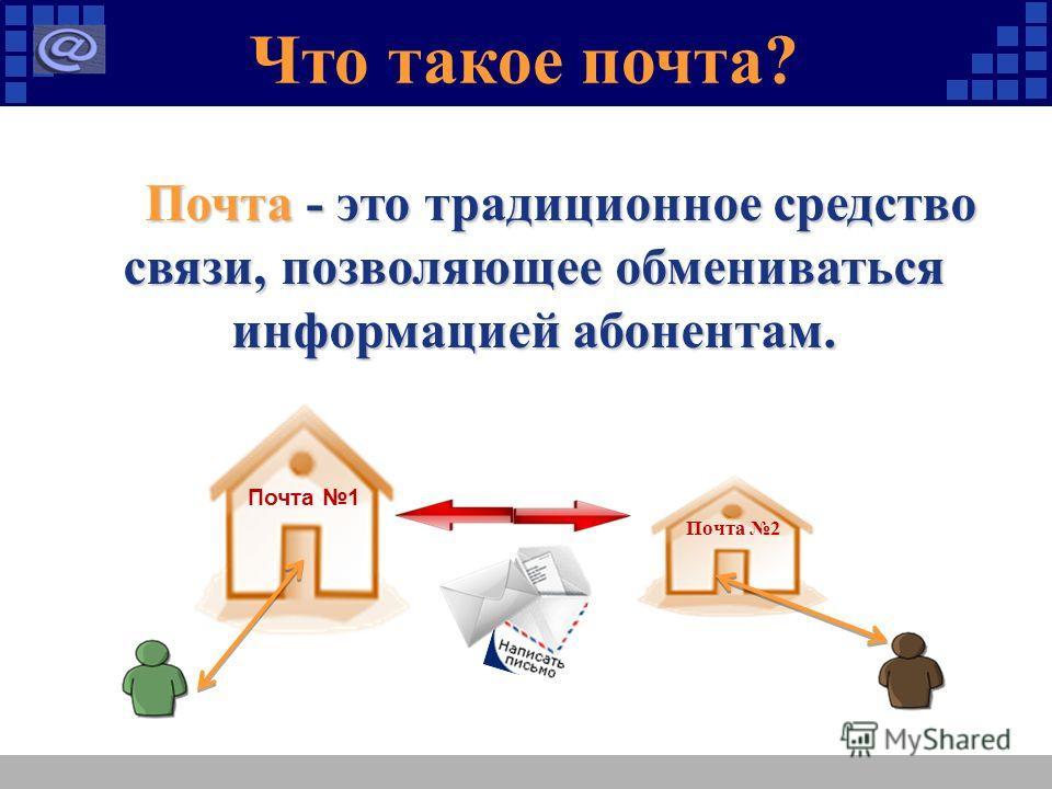 Что такое почта? Почта - это традиционное средство связи, позволяющее обмениваться информацией абонентам. Почта - это традиционное средство связи, позволяющее обмениваться информацией абонентам. Почта 1 Почта 2