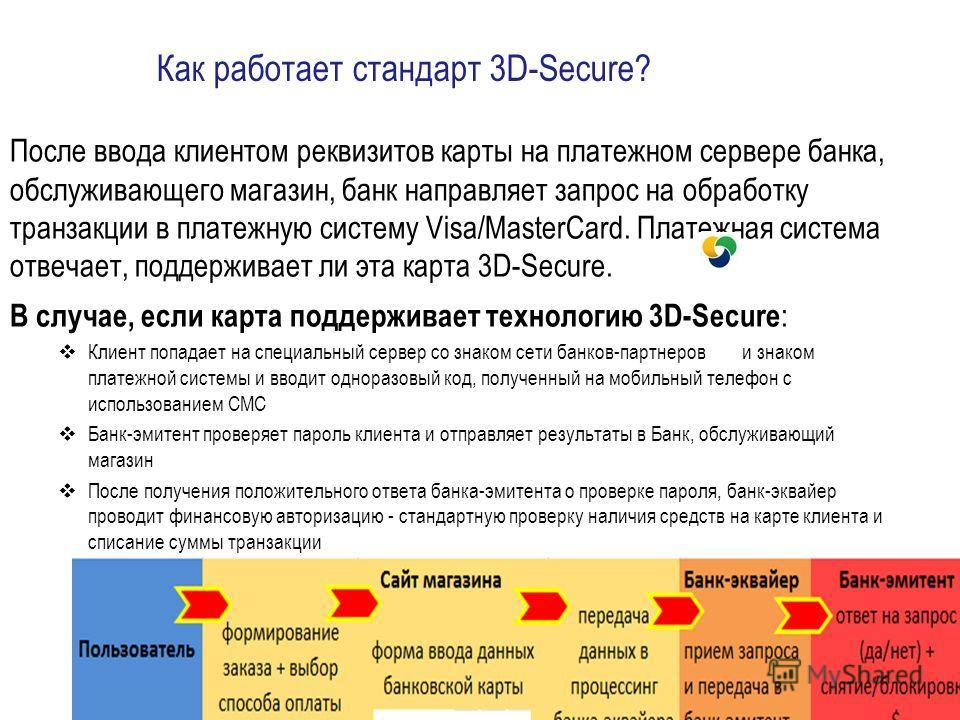 Как работает стандарт 3D-Secure? После ввода клиентом реквизитов карты на платежном сервере банка, обслуживающего магазин, банк направляет запрос на обработку транзакции в платежную систему Visa/MasterCard. Платежная система отвечает, поддерживает ли