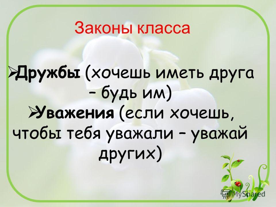 Дружбы (хочешь иметь друга – будь им) Уважения (если хочешь, чтобы тебя уважали – уважай других)