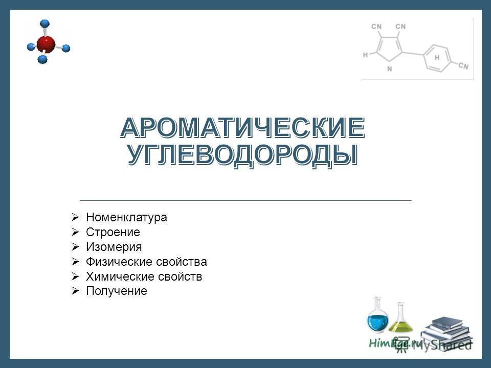 Номенклатура Строение Изомерия Физические свойства Химические свойств Получение