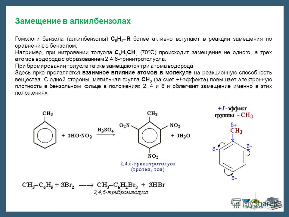 Замещение в алкилбензолах Гомологи бензола (алкилбензолы) С 6 Н 5 –R более активно вступают в реакции замещения по сравнению с бензолом. Например, при нитровании толуола С 6 Н 5 CH 3 (70°С) происходит замещение не одного, а трех атомов водорода с обр