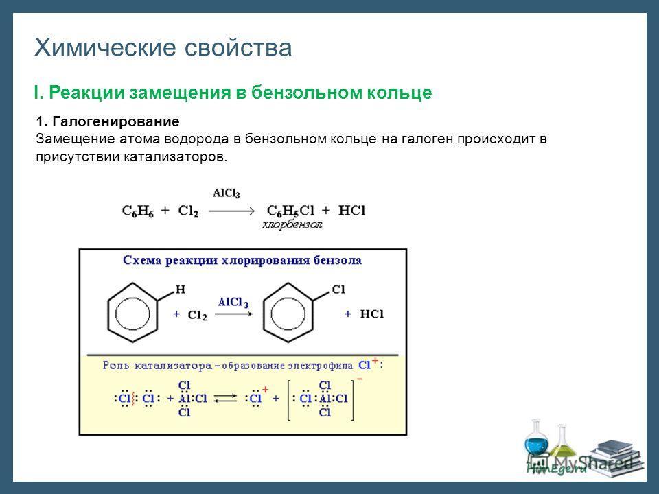 Химические свойства I. Реакции замещения в бензольном кольце 1. Галогенирование Замещение атома водорода в бензольном кольце на галоген происходит в присутствии катализаторов.
