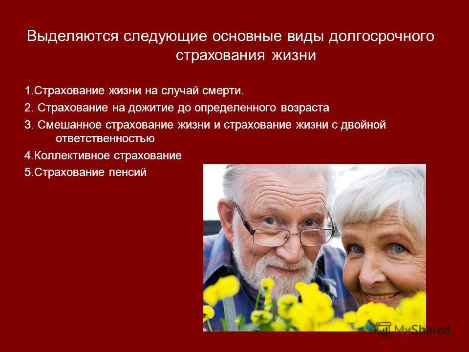 Выделяются следующие основные виды долгосрочного страхования жизни 1.Страхование жизни на случай смерти. 2. Страхование на дожитие до определенного возраста 3. Смешанное страхование жизни и страхование жизни с двойной ответственностью 4.Коллективное