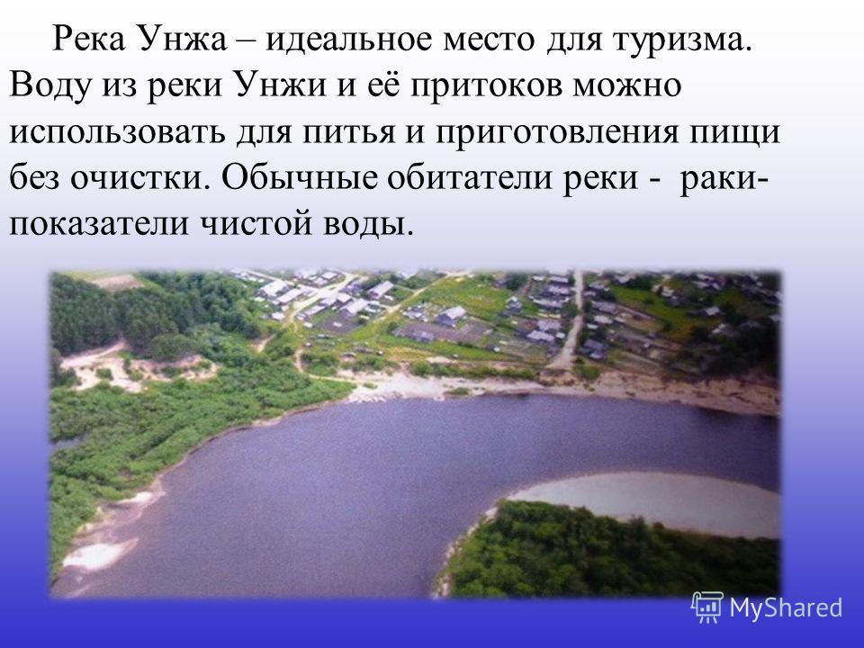 Река Унжа – идеальное место для туризма. Воду из реки Унжи и её притоков можно использовать для питья и приготовления пищи без очистки. Обычные обитатели реки - раки- показатели чистой воды.