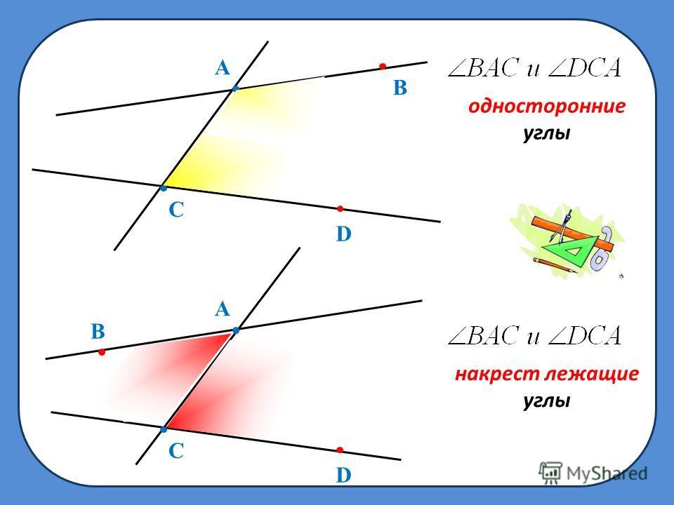 B A C D односторонние углы B A C D накрест лежащие углы