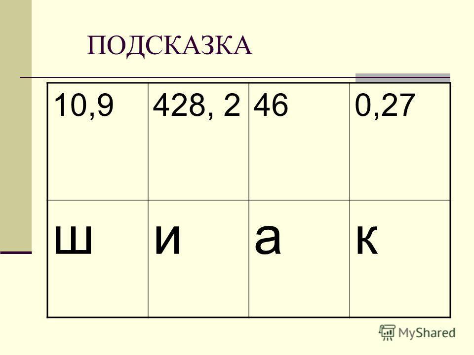 ПОДСКАЗКА 10,9428, 2460,27 шиак
