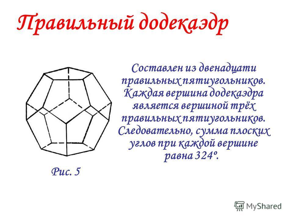 Составлен из шести квадратов. Каждая вершина куба является вершиной трёх квадратов. Следовательно, сумма плоских углов при каждой вершине равна 270º. Куб (гексаэдр) Рис. 4