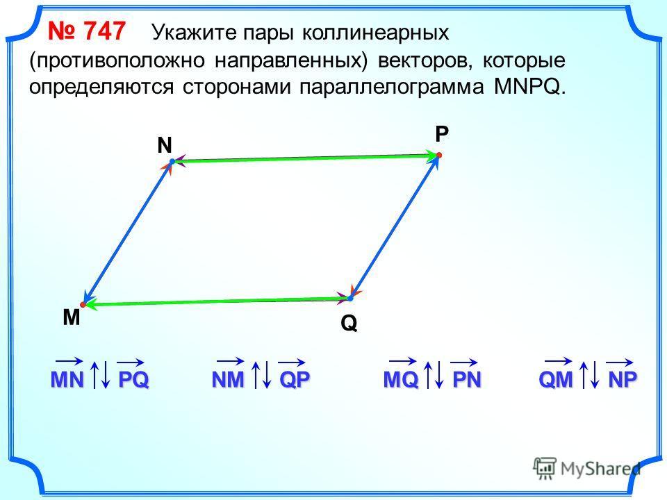 747 Укажите пары коллинеарных (противоположно направленных) векторов, которые определяются сторонами параллелограмма MNPQ. M N P Q MNPQ NMQPMQPN QMNP