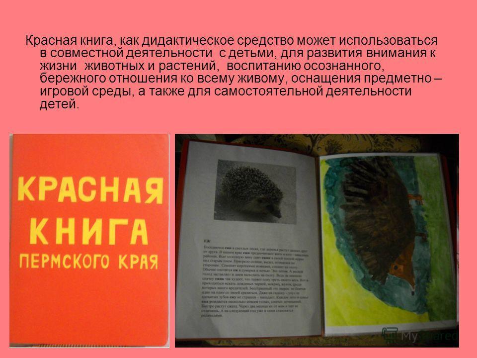 Красная книга, как дидактическое средство может использоваться в совместной деятельности с детьми, для развития внимания к жизни животных и растений, воспитанию осознанного, бережного отношения ко всему живому, оснащения предметно – игровой среды, а