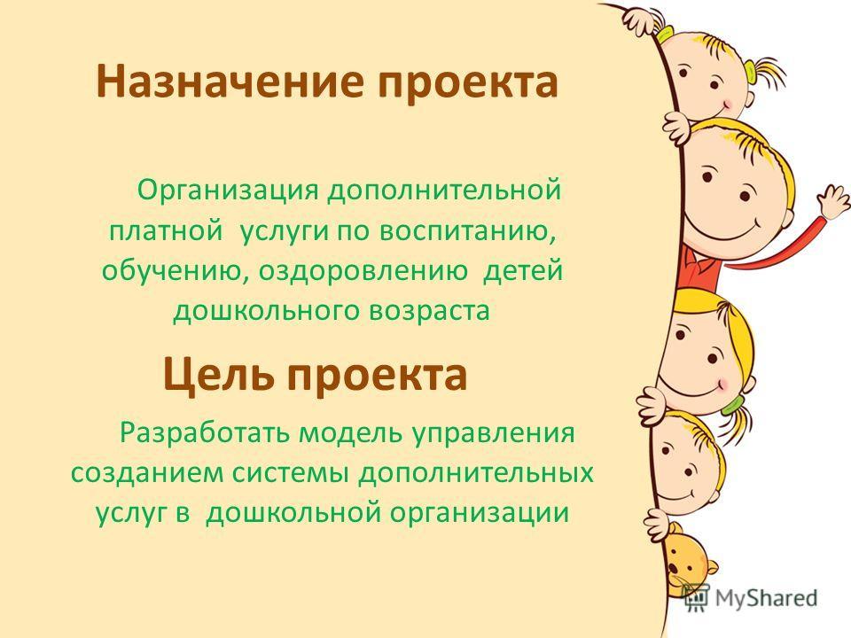 Назначение проекта Организация дополнительной платной услуги по воспитанию, обучению, оздоровлению детей дошкольного возраста Цель проекта Разработать модель управления созданием системы дополнительных услуг в дошкольной организации