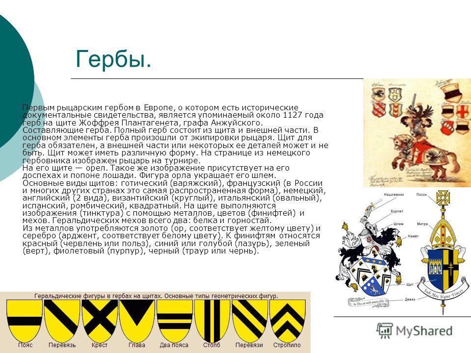 Гербы. Первым рыцарским гербом в Европе, о котором есть исторические документальные свидетельства, является упоминаемый около 1127 года герб на щите Жоффрея Плантагенета, графа Анжуйского. Составляющие герба. Полный герб состоит из щита и внешней час
