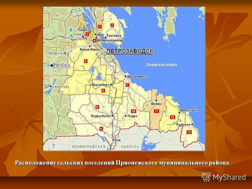 Расположение сельских поселений Прионежского муниципального района