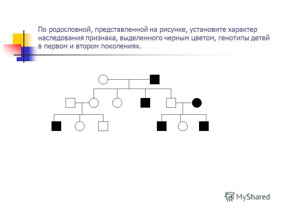По родословной, представленной на рисунке, установите характер наследования признака, выделенного черным цветом, генотипы детей в первом и втором поколениях.