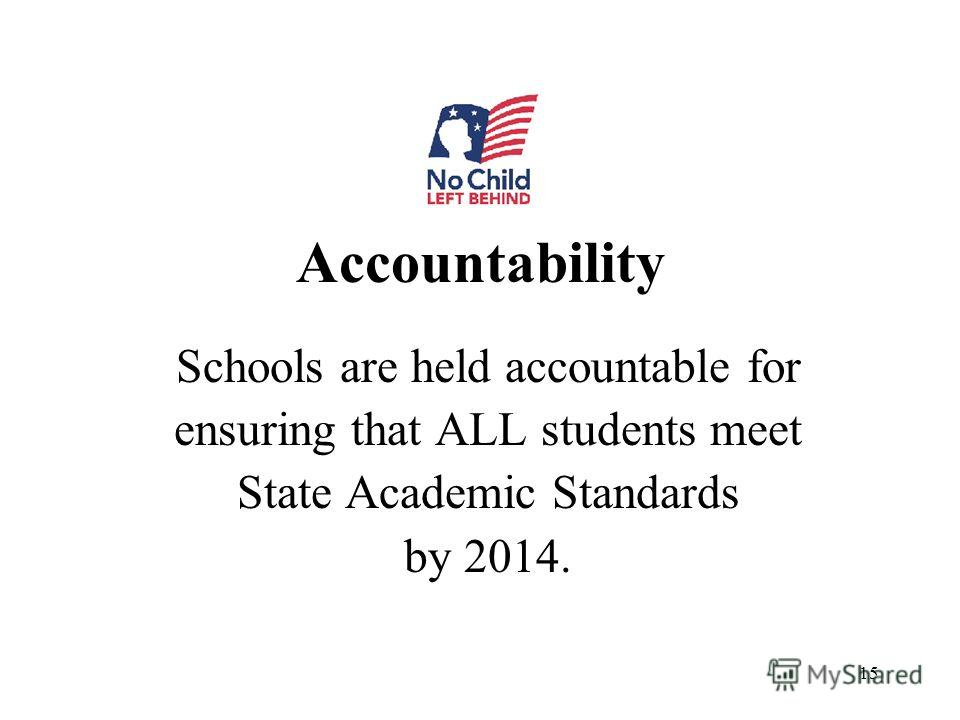 15 Accountability Schools are held accountable for ensuring that ALL students meet State Academic Standards by 2014.