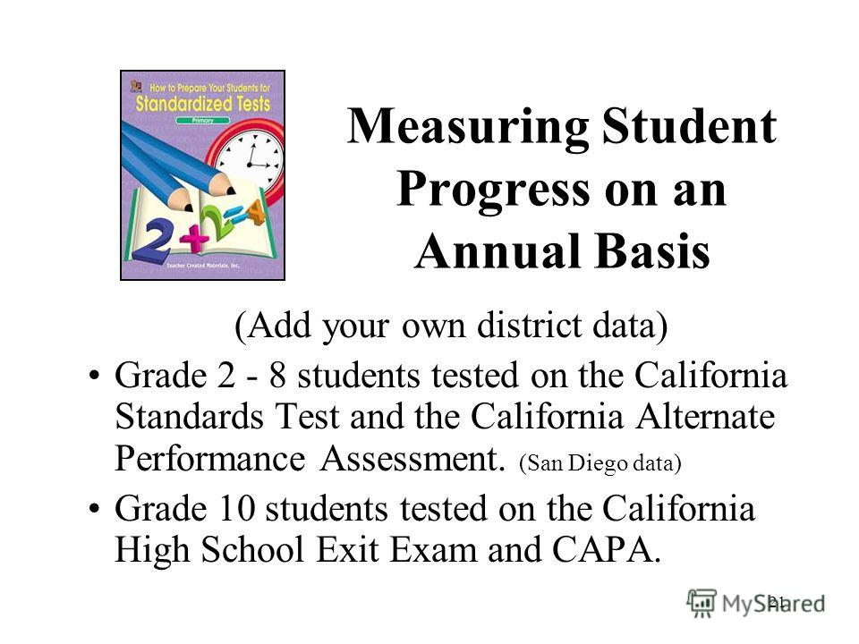 21 Measuring Student Progress on an Annual Basis (Add your own district data) Grade 2 - 8 students tested on the California Standards Test and the California Alternate Performance Assessment. (San Diego data) Grade 10 students tested on the Californi