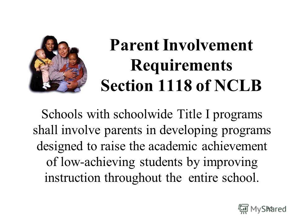 35 Parent Involvement Requirements Section 1118 of NCLB Schools with schoolwide Title I programs shall involve parents in developing programs designed to raise the academic achievement of low-achieving students by improving instruction throughout the